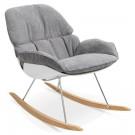 Design schommelstoel 'CHILY' in lichtgrijze stof