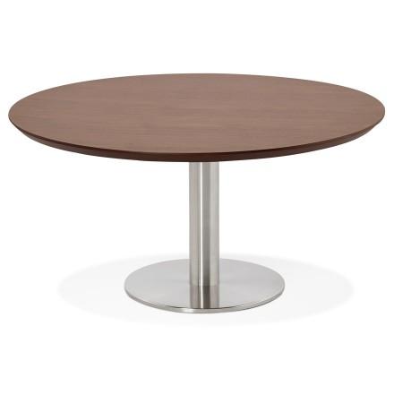 Table basse lounge AGUA en bois finition Noyer - Ø 90 cm