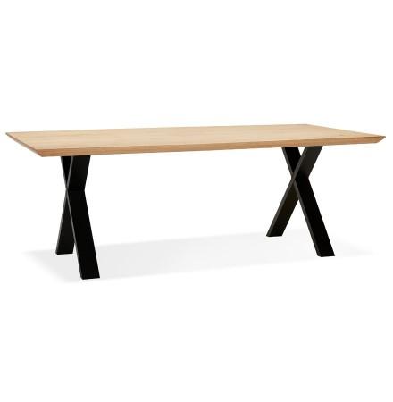 Table à diner 'ALEXANDRA' en chêne avec pieds noirs - 200X100 CM