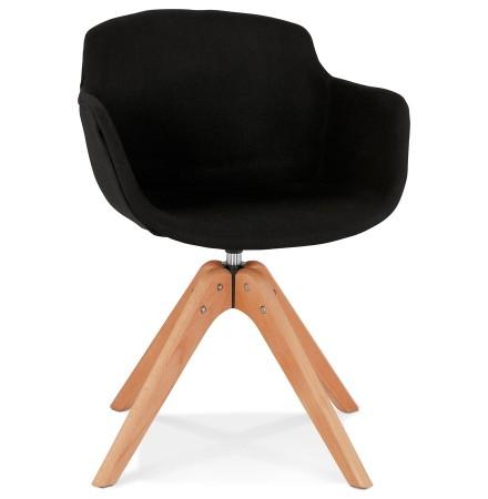 Chaise avec accoudoirs 'AMOS' en tissu noir et pieds en bois naturel