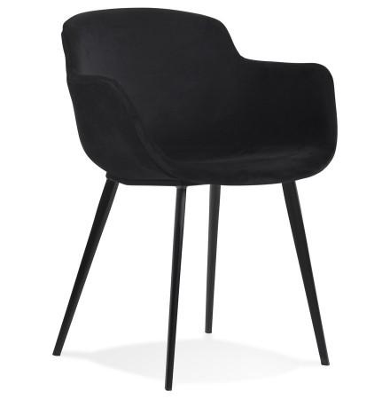 Chaise avec accoudoirs 'ARMADA' en velours noir