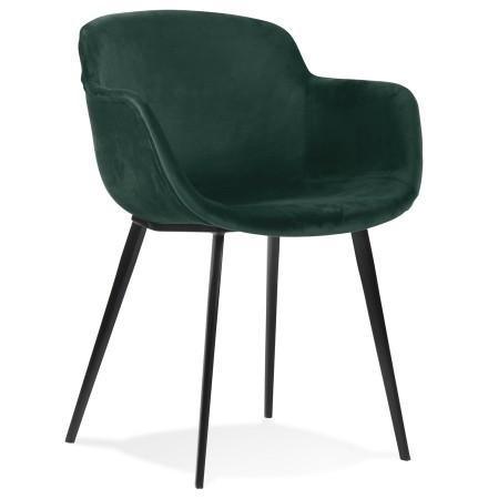Chaise avec accoudoirs 'ARMADA' en velours vert