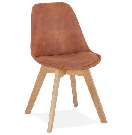Chaise en microfibre brune 'AXEL' avec structure en bois finition naturelle