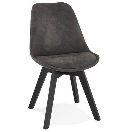 Chaise en microfibre grise 'AXEL' avec structure en bois noir