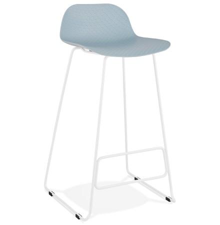 Tabouret de bar design 'BABYLOS' bleu avec pieds en métal blanc