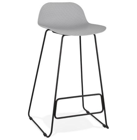 Tabouret de bar design 'BABYLOS' gris avec pieds en métal noir
