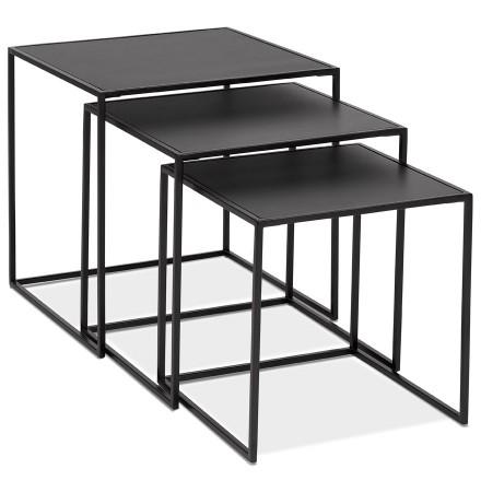 Set de 3 tables gigognes emboîtables 'BAGGY' en bois et métal noir