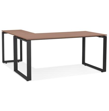 Bureau d'angle design 'BAKUS' en bois finition Noyer et métal noir - 160 cm