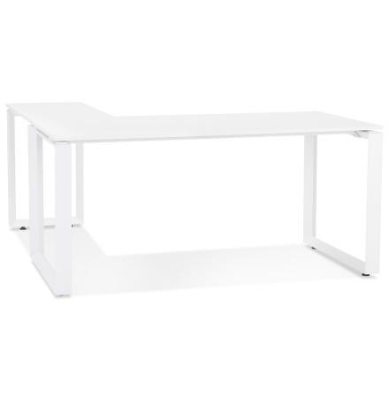 Bureau d'angle design 'BAKUS' en bois et métal blanc - 160 cm