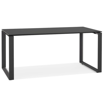 Bureau droit design 'BAKUS' en verre et métal noir - 160x80 cm