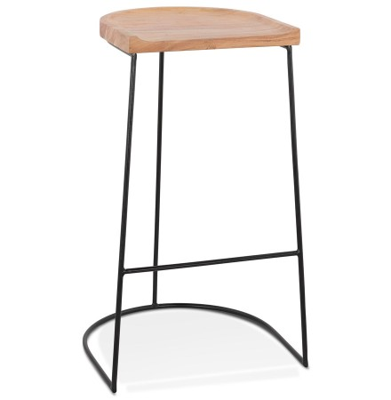 Tabouret de bar design 'BALDA' en bois finition naturelle style industriel