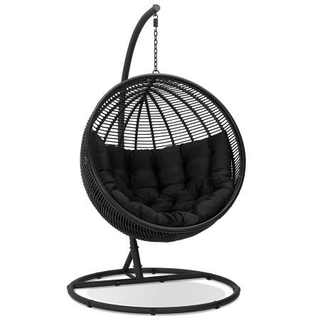 Fauteuil suspendu 'BAMBY' en osier synthétique noir - intérieur / extérieur