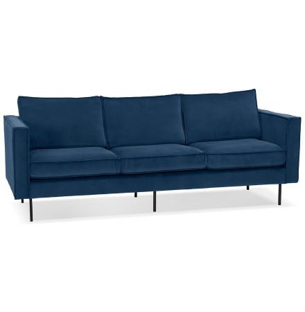 Canapé droit design 'BANDY' en velours bleu pétrole - canapé 3 places