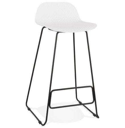 Tabouret de bar design 'BABYLOS' blanc avec pieds en métal noir