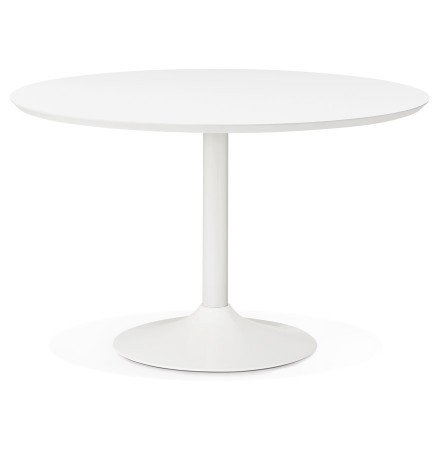 Table à diner/de bureau ronde BARABAR en bois blanc - Photo 1