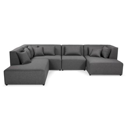 Canapé en U avec méridienne 'BELAGIO U SHAPE' gris foncé - canapé modulable (angle à gauche)