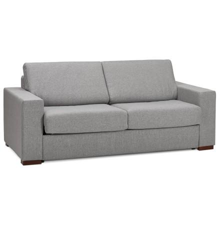 Canapé 3 places convertible en lit 'BELGO' en tissu gris clair