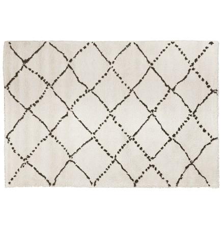 Tapis berbère 'BERAN' blanc avec motifs noirs - 200x290 cm