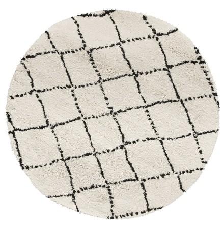 Tapis berbère rond 'BERAN' blanc avec motifs noirs - Ø 160 cm