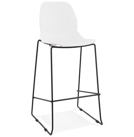 Tabouret de bar design 'BERLIN' blanc empilable style industriel