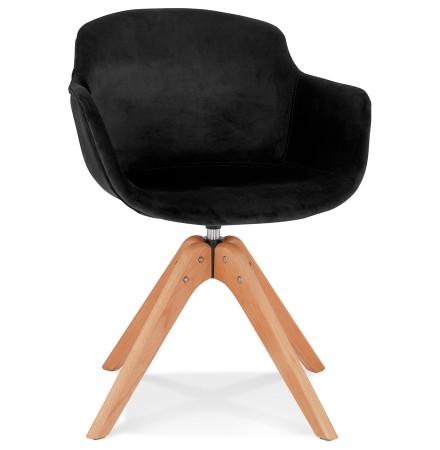 Chaise avec accoudoirs 'BERNI' en velours noir et pieds en bois naturel