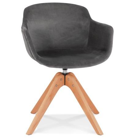 Chaise avec accoudoirs 'BERNI' en velours gris et pieds en bois naturel