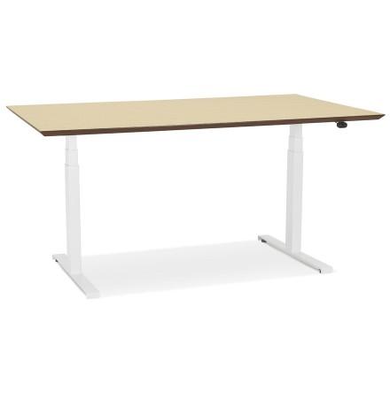 Bureau assis-debout électrique 'BIONIK'avec plateau en bois finition naturelle et pied en métal blanc - 150x70 cm