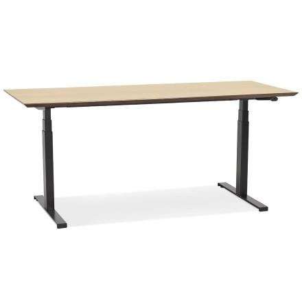 Bureau assis-debout électrique 'BIONIK'avec plateau en bois finition naturelle et pied en métal noir - 180x90 cm