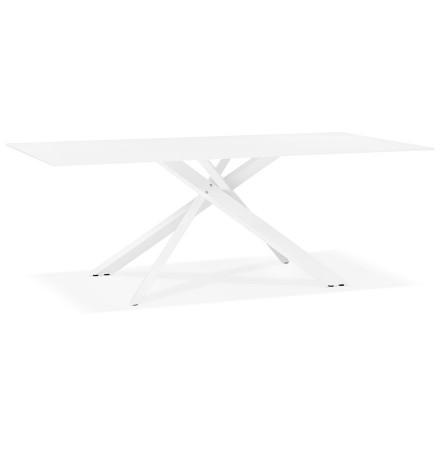 Table de salle à manger 'BIRDY' en verre blanc avec pied central en x - 200x100 cm