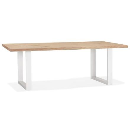 Table à manger style tronc d'arbre 'BOTANIK' en chêne massif et métal blanc - 200x100 cm