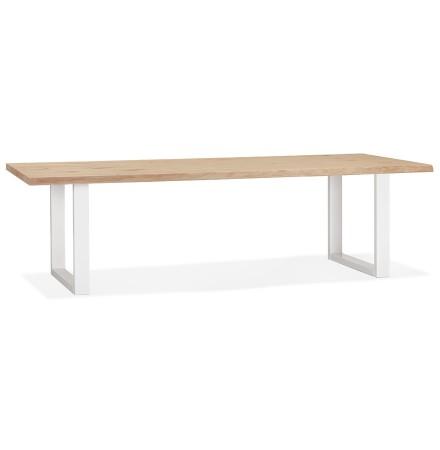 Table à manger style tronc d'arbre 'BOTANIK' en chêne massif et métal blanc - 260x100 cm