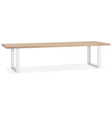 Table à manger style tronc d'arbre 'BOTANIK' en chêne massif et métal blanc - 300x100 cm
