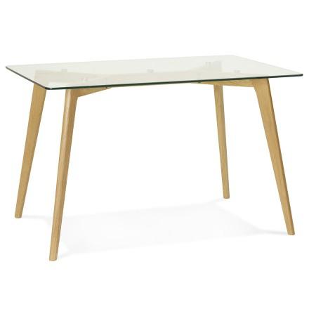 Petite table / bureau droit 'BUGY' en verre - 120x80 cm