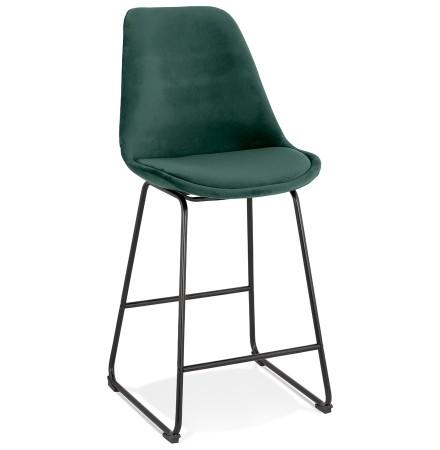 Tabouret snack mi-hauteur 'BULLY MINI' en velours vert et pieds en métal noir
