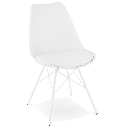 Chaise design BYBLOS blanche style industriel - Alterego