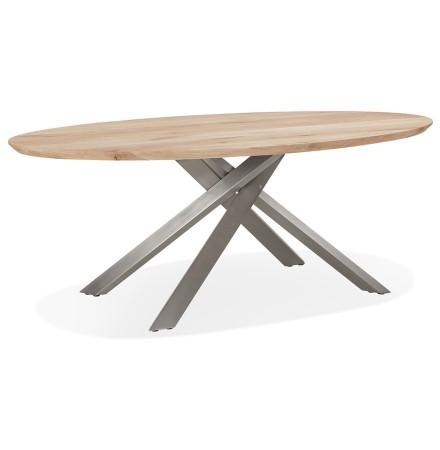 Table à manger ovale 'CABANA' en chêne massif avec pied en x en métal brossé - Ø 200 cm