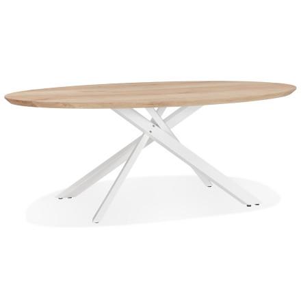 Table à manger ovale 'CABANA' en chêne massif avec pied en x en métal blanc - Ø 200 cm
