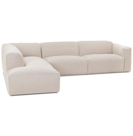 Grand canapé d'angle 'CANYON LOUNGE' en tissu beige (angle à gauche)