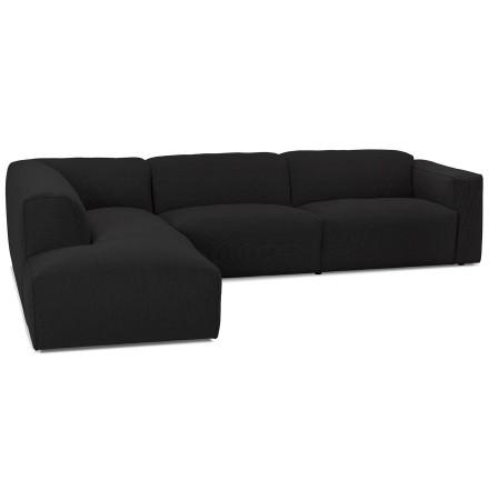 Grand canapé d'angle 'CANYON LOUNGE' en tissu noir (angle à gauche)