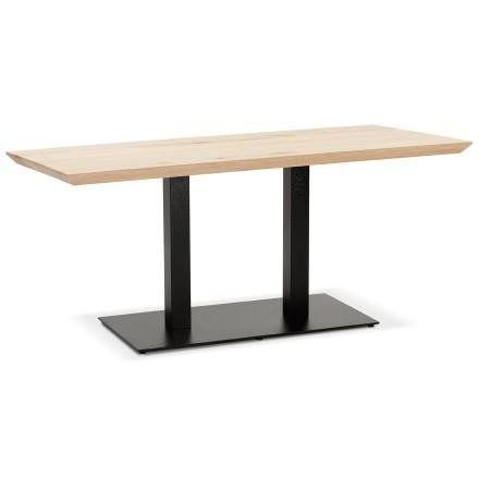 Table 'CAPULCO' en bois massif avec pied en fonte noir - 160x80 cm