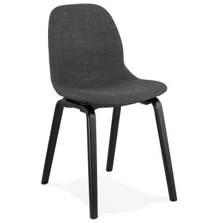 Chaise de salle à manger 'CELTIK' en tissu gris et pieds en bois noir