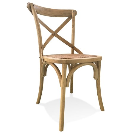 Chaise de cuisine rétro 'CHABLY' en bois finition naturelle - commande par 2 pièces / prix pour 1 pièce