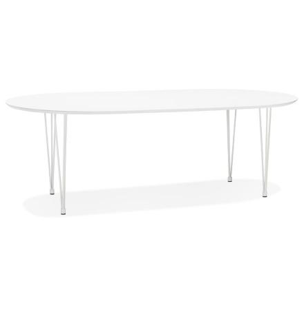 Table à dîner / de réunion ronde extensible 'CHAMONIX' blanche - 120(220)x120 cm