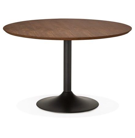 Table à diner/de bureau ronde 'CHEF' en bois finition Noyer - Ø 120 cm