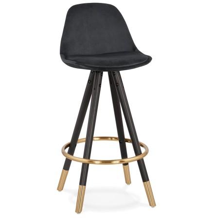 Tabouret snack mi-hauteur design 'CHICAGO MINI' en velours noir et 4 pieds en bois noir