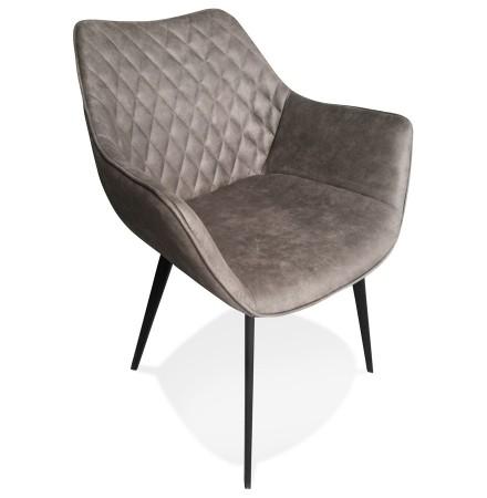 Chaise avec accoudoirs 'CHIGI' gaufrée en microfibre gris foncé et pieds en métal noir