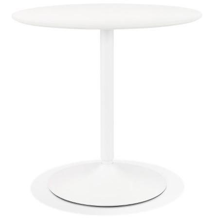 Table ronde design 'CHIVA' en bois et métal blanc - Ø 80 cm
