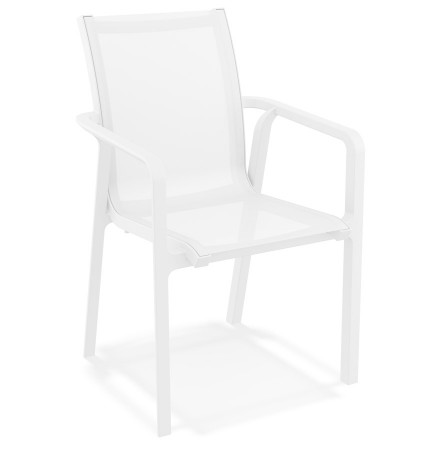Chaise de jardin avec accoudoirs 'CINDY' en matière plastique blanche empilable