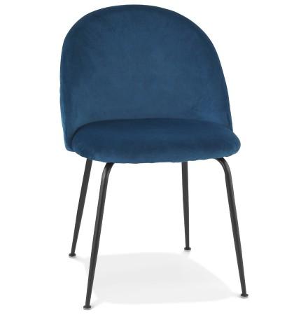 Chaise au style rétro 'CLARENCE' en velour bleu et pieds en métal noir - commande par 2 pièces / prix pour 1 pièce