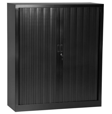Armoire de bureau à rideaux 'CLASSIFY' noire métallique - 136x120 cm